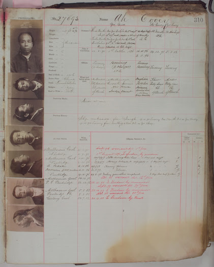 A typical page of a Victorian prison register from the late 19th century.
