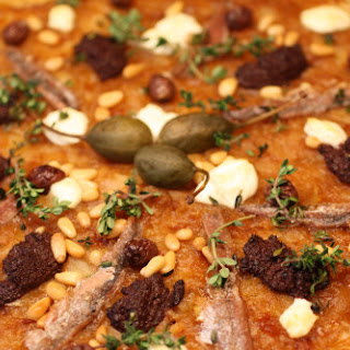 Whole Wheat Pissaladière Pizza with Tapenade, Pine Nuts, Goat Cheese