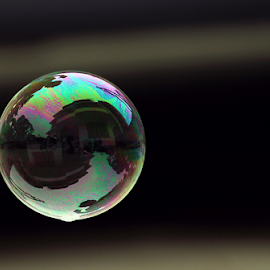 Trapped inside a bubble by Binoy B Gogoi - Artistic Objects Other Objects ( flying bubbles, bubble, reflection, artistic, artistic objects, house inside bubble )