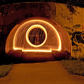 The Gate Keeper by Jon Hurd - Abstract Light Painting ( person, light trail, canada, toronto, line, ontario, circle, shape, don valley, fire, shapes, flame, light painting, light trails, lines, night, underground, light, tunnel )