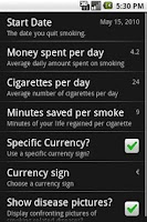Screenshot of Stop Smoking assistant