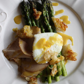 Roasted Asparagus with Pickle-Poached Eggs and Country Ham