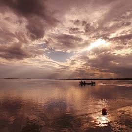Bella tarde de ayer en La Paz ☺ by Paola Weller - Landscapes Beaches ( clouds, water, reflection, sky, nature, sunset, sunrise, sun, naturaleza, river,  )