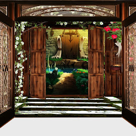 Open door by Svetla Stoimenova - Digital Art Places ( fantasy, open  door )