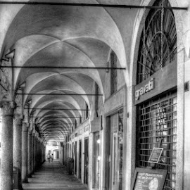 Italia 2014 by Jessica Sacavage - Buildings & Architecture Other Exteriors ( b&w, black and white, street, gelato, piazza, closed, storefront, vigevano pavia, morning, ducal, italy,  )