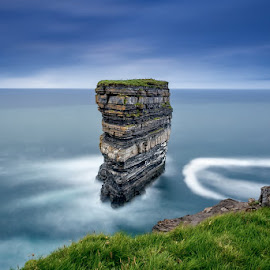 Dun Briste, Downpatrick Head by Ryszard Lomnicki - Landscapes Cloud Formations ( downpatrick head, connemara, dingle, ireland, cliffs, burren, dublin, galway, cliffs of moher, donegal, dun briste, sunset, mayo, kerry, long exposure, longexposure,  )