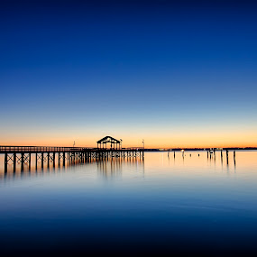 Blue Hour by Kevin Miller - Landscapes Waterscapes ( water, reflection, blue, pier, sunrise )
