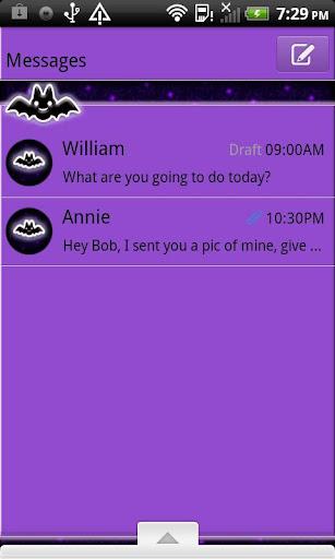 GO SMS THEME CuteBats4U