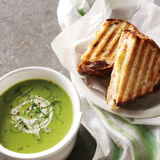 Spring Pea Soup with Grilled Ham and Cheese