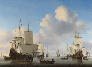 RIJKS: Willem van de Velde (II): Dutch Ships in a Calm 1665