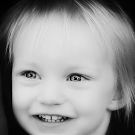 Millie 23 Aug 1  by Kelly Murdoch - Babies & Children Children Candids ( pose, reflection, girl, black and white, bright, bw, candid, smile, mono, teeth, eyes, ztam )