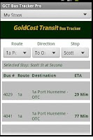 Screenshot of Gold Cost Transit Bus Times