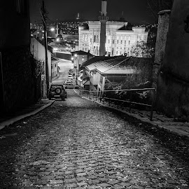 Cobble stone street by Bakir Lojo - City,  Street & Park  Street Scenes ( high key, city hall, cobble, sharp, vijećnica, black and white, street, stone, sarajevo, night, black&white )