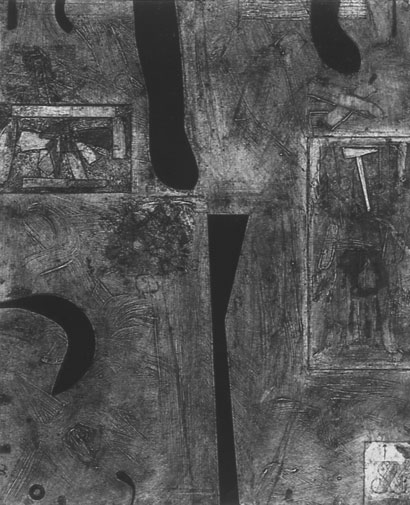 """<p> <strong>Double</strong><br /> Collagraph on Stonehenge White<br /> 46"""" x 36 3/4"""" paper<br /> 40"""" x 32"""" image<br /> Edition: 3<br /> 1992<br /> Private collections, Vancouver; West Vancouver<br /> Capilano University, North Vancouver</p>"""