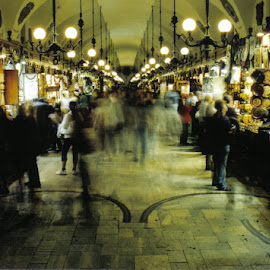 Night Markets by Damian Searles - City,  Street & Park  Street Scenes ( market, shops, markets, night, shopping, people, city )