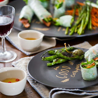 Roasted Asparagus Spring Rolls with Bacon