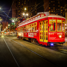 New Orleans Canal St 2 by Sheldon Anderson - Transportation Trains ( new orleans, red, night photography, street car, nightscape )