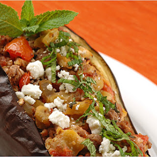 Lamb And Goat Cheese Stuffed Eggplant