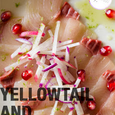 Yellowtail and Pomegranate Crudo with Shiso Oil