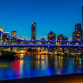 City lights by Simon Tidd - City,  Street & Park  Skylines ( storey bridge, qld, sunset, brisbane, bridge, evening )