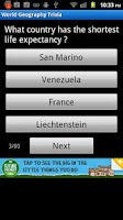 Screenshot of World Geography Trivia