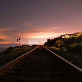 Into the horizon by Zach Lenfesty - Landscapes Beaches ( train tracks, california, sunset, symmetry, longexposure,  )