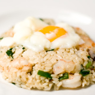 Garlic Chive Shrimp Fried Rice With Garlic Chips