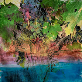 Grape Vine by Chris KIELY - Digital Art Abstract ( wine, red, grapes, grape, vine, art, white, paint, painting )
