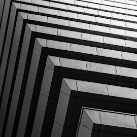 Diagonally .... by Babar Swaleheen - Abstract Patterns ( building, pattern, black and white, nikon )