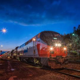 All Aboard by Kevin Brown - Transportation Trains ( eugene, oregon, winter, amtrak, station, sunset, train, downtown )