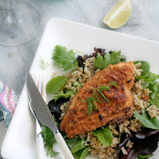 Gluten-Free Pan Fried Catfish Recipe with Brown Rice and Baby Greens
