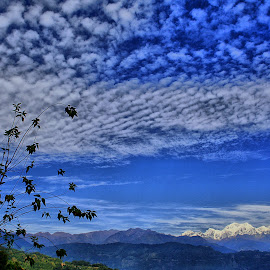 The Sky by Mahul Mukherjee - Landscapes Cloud Formations ( colour, mountain, sky, tree, cloud )