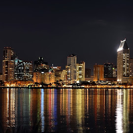 San Diego Christmas Lights by Art LA - City,  Street & Park  Skylines ( san diego, reflection, san diego skyline, coronado island, ocean'water, sd, san diego night, skylines, san diego ca, city )