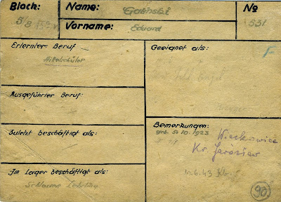 A document from the file of prisoners working in the camp metal workshop: Galiński Edward, prisoner number 531; trained profession: high school student; employed in the camp as: metalwork apprentice.