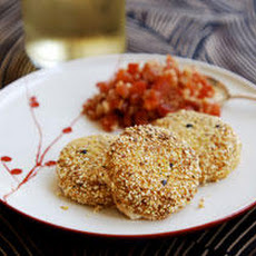 Cornmeal-Crusted Goat Cheese with Hot Tomato Salsa Recipe