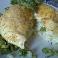 Lasagne timbale crepes with ricotta, asparagus and edam cheese