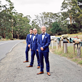 Letterboxes by Alan Evans - Wedding Groups ( groomsmen, daylesford, wedding photography, denver australia, street, aj photography, road, marriage, daylesford wedding photographer, groom shoes, letterboxes, wedding, wedding day, letter box, grooms suit, groom,  )