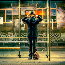 Tullrick von Schnaaz by Jørn Lavoll - People Portraits of Men ( spy, street, train, night, city )