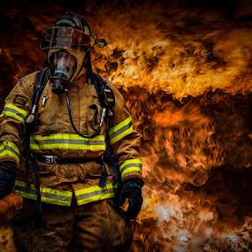 Fire Fighting by Luke Popwell - People Street & Candids ( flames, fireman, firemen, fire )