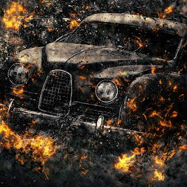Fiery Car by Stephanie Örjas - Digital Art Things ( car, sweden, old, saab, fire, abandoned,  )