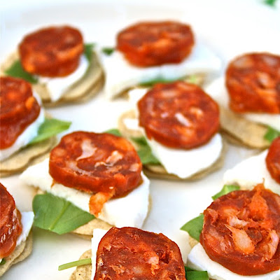 Chorizo Canapes With Mozzarella And Rocket
