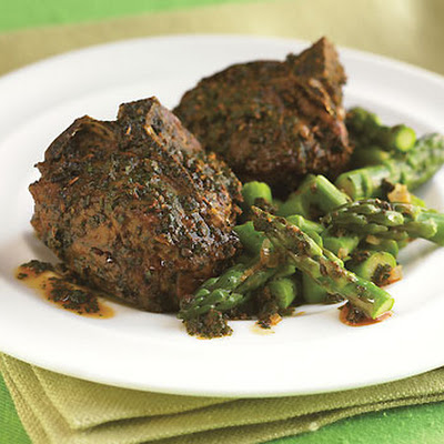 Roasted Lamb Chops with Charmoula and Skillet Asparagus