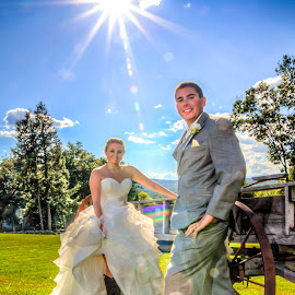 Star Bright  by Joe Martin - Wedding Bride & Groom ( sunburst, wedding, bride, groom )