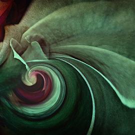 GREEN TWIRL by Carmen Velcic - Digital Art Abstract ( abstract, green, roses, flowers, digital, twirl )