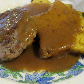 Cheesy Polenta with Sage Breakfast Sausage and Red Eye Gravy