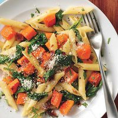 Penne with Bacon, Butternut Squash and Spinach