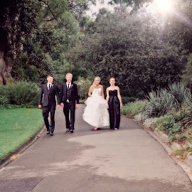 Just A Walk in the Park by Alan Evans - Wedding Groups ( wedding photography, melbourne wedding photographer, pathway, park, melbourne, aj photography, bridesmaid, landscape, sun, melbourne botanic gardens, wedding, groomsman, path, trees, walkway, bride and groom, bride, groom, bride groom )