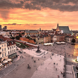 Warsaw Center Sunset by Piotr Gurin - City,  Street & Park  Skylines