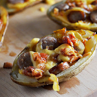 Bacon, Bratwurst, and Beer Cheese Potato Skins