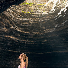 Yoga by Braxton Wilhelmsen - Sports & Fitness Other Sports ( crater, model, retouching, fitness, cave, spring, light, photo, yoga )